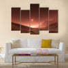 Sunset on Mars. Mars mountains, view from the valley Multi Panel Canvas Wall Art