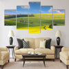 Panoramic landscape of colorful yellow green hills Multi Panel Canvas Wall Art