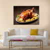 Roasted chicken and vegetables on wooden table Multi panel canvas wall art
