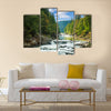 Mountain river with waterfall Multi Panel Canvas Wall Art