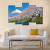 Mountain Fuji and cherry blossom sakura in spring season Multi Panel Canvas Wall Art