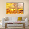 Beautiful sunny and rainy yellow color autumn season Multi panel canvas wall art