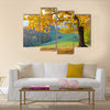 Beautiful landscape with magic autumn trees and fallen leaves Multi panel canvas wall art