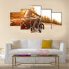 Close up of a high power motorcycle classic vintage style Multi panel canvas wall art