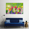 Daffodils And Tulips Blossomed In The Spring, Multi Panel Canvas Wall Art