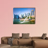 Singapore skyline at the Merlion fountain multi panel canvas wall art