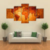 World map paint design art multi panel canvas wall art