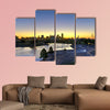 Downtown Dallas skyline at sunrise in Texas USA from the trinity river Multi panel canvas wall art