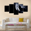 Howling Wolf Dark Background. Full Moon and the Wilderness Multi Panel Canvas Wall Art