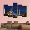 Blue Sultanahmet Mosque at night time Istanbul, Turkey multi panel canvas wall art
