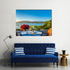 A Romantic Dinner Place On A Landscape That Attracts You With Sunset, Itlay, Multi Panel Canvas Wall Art
