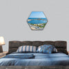 small fishing port from Ribat hexagonal canvas wall art