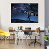 A Starry Night Is Captured By a Telescope Multi Panel Canvas Wall Art