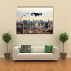 Drone Jets Of Japan Flying Over A City Multi Panel Canvas Wall Art
