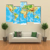 Physical map of the world multi panel canvas wall art