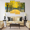 Row of yellow ginkgo tree in Nami Island, Korea Multi panel canvas wall art