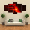 Violent Explosion of Tungurahua Volcano at Night, Ecuador, South America multi panel canvas wall art