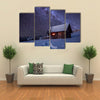 A Beautiful Wooden House In The Winter Forest, Multi Panel Canvas Wall Art