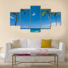 Tropical beach with palm trees Multi panel canvas wall art