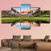 Peaks mirroring in a lake below, Stubai Alps, Austria multi panel canvas wall art