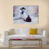 Original abstract oil painting of beautiful snowman and child on canvas Multi Panel Canvas Wall Art