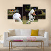 Cricket batsman try to blocks the ball Cricket is played Multi panel canvas Wall art