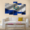 El Salvador Flag has a detailed realistic fabric texture Multi Panel Canvas Wall Art