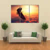 African Fish Eagle Flying High Above the Clouds with Sunrise Digital Artwork Multi Panel Canvas Wall Art