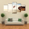 Cliff Jumping into the Ocean at Sunset, Outdoor Adventure Lifestyle Multi Panel Canvas Wall Art