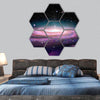 Spiral Galaxy in deep space,  hexagonal canvas wall art