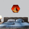 Pyramid on Mars hexagonal canvas wall art