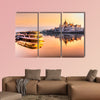 View of Budapest parliament at sunrise, Hungary multi panel canvas wall art