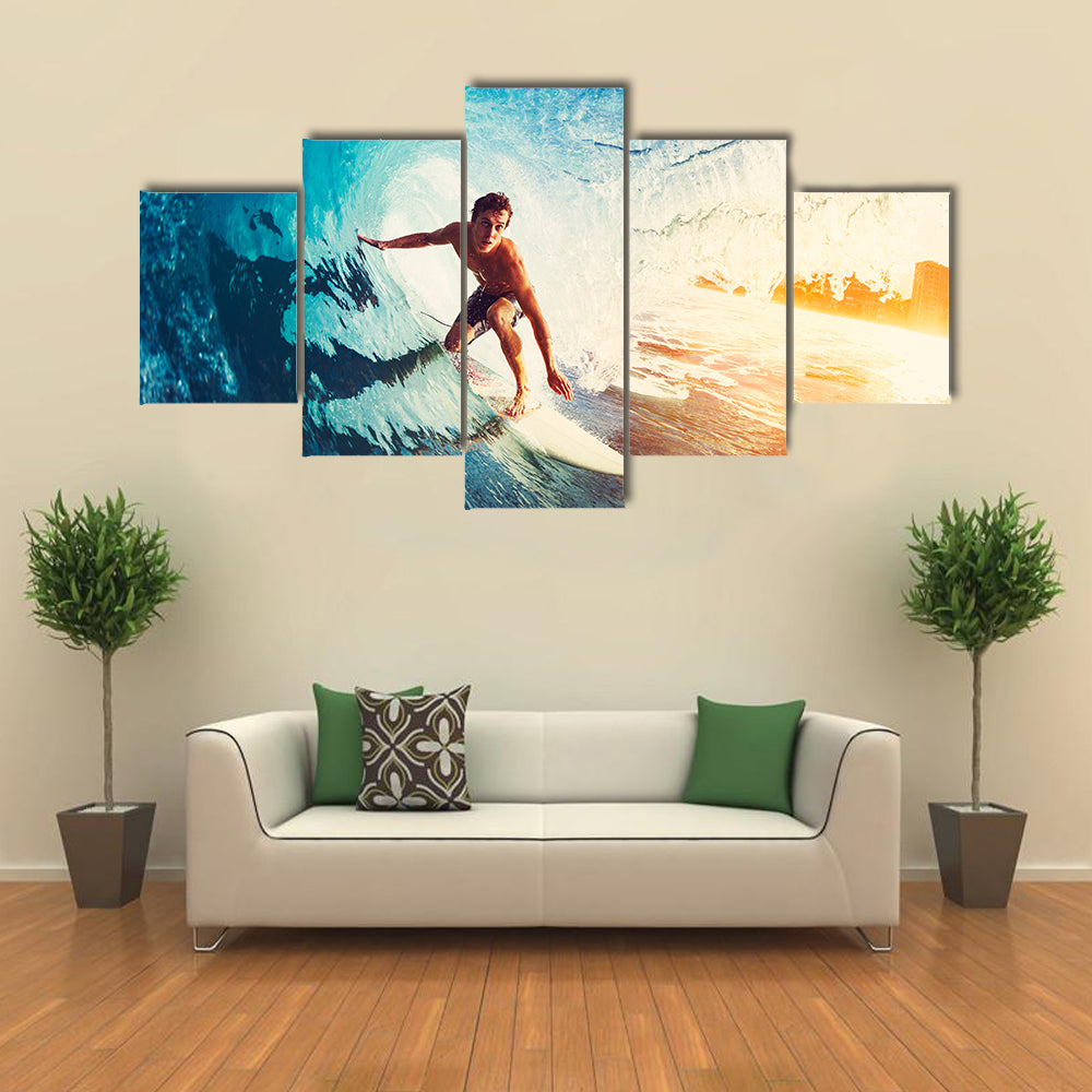 Surfer on Blue Ocean Wave Getting Barreled at Sunrise Multi Panel Canvas Wall Art