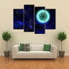 Science Fiction Planet Complex Space Scene Illustration Multi Panel Canvas Wall Art