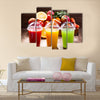 Fresh juices with fruits and vegetables on wooden background Multi panel canvas wall art
