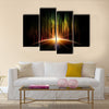 Planet with aurora Multi panel canvas wall art
