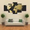 Empty world map silhouette in gold color, concept illustration multi panel canvas wall art