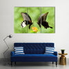 Swallowtail Butterflies Flying Over Plants,Multi Panel Canvas Wall Art