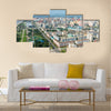 Aerial view of the city in Pyongyang, North Korea multi panel canvas wall art