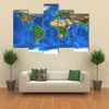 Detailed satellite view of the Earth and its landforms multi panel canvas wall art