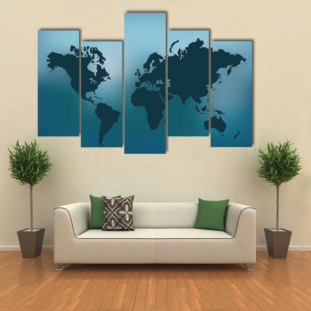 Illustration of the world map on a colorful blue background multi panel canvas wall art
