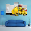 Plate with measuring tape and fruits on the table, Vegetarian diet for weight loss, Multi panel canvas wall art