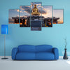 The Sunrise Behind The Statue Of Buddhist In Front Of A Temple In South Korea Multi Panel Canvas Wall Art