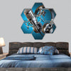 Headphones and microphone hexagonal canvas wall art