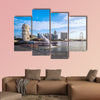 Sunrise in the morning at merlion Singapore Marina Bay sand multi panel canvas wall art
