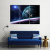 Beauty Of Outer Space With Galaxies, Planets And Stars Multi Panel Canvas Wall Art