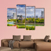 Hiroshima, Japan city skyline at the castle multi panel canvas wall art