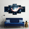 hand demonstrating digital connection lines in palm Concept Multi panel canvas wall art