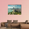 Chicago Skyline aerial view with road by the beach multi panel canvas wall art