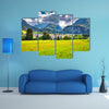 The summer sunny view of the Triglav mountain range village, multi panel canvas wall art